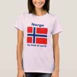 Bandera de Noruega + Mapa + Camiseta del texto