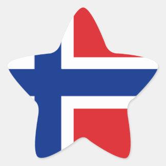 Bandera de Noruega Pegatina En Forma De Estrella