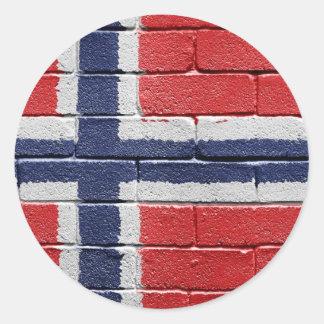Bandera de Noruega Pegatina Redonda