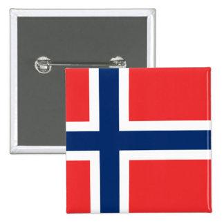 Bandera de Noruega Pin Cuadrado