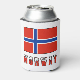Bandera de Noruega y nieve de la palabra Enfriador De Latas