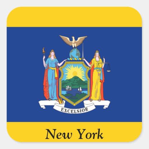 Bandera de Nueva York Pegatina Cuadrada