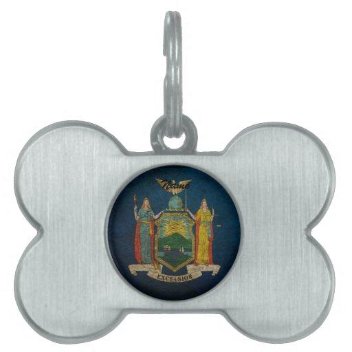 Bandera de Nueva York Placa De Mascota