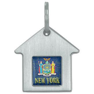 BANDERA DE NUEVA YORK PLACA DE NOMBRE DE MASCOTA