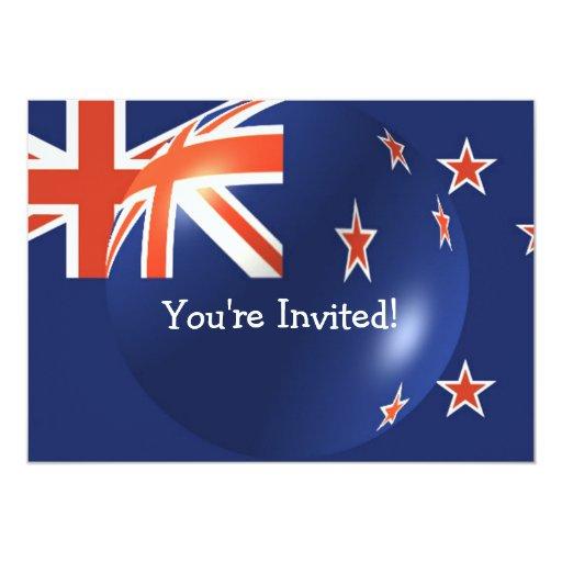 Bandera de Nueva Zelanda con la invitación de la