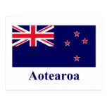 Bandera de Nueva Zelanda con nombre en maorí Tarjetas Postales