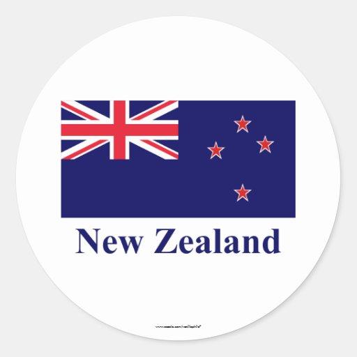 Bandera de Nueva Zelanda con nombre Pegatinas Redondas