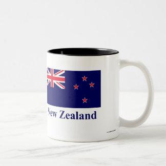 Bandera de Nueva Zelanda con nombre Taza De Dos Tonos
