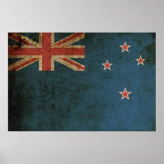 Bandera de Nueva Zelanda del vintage Poster