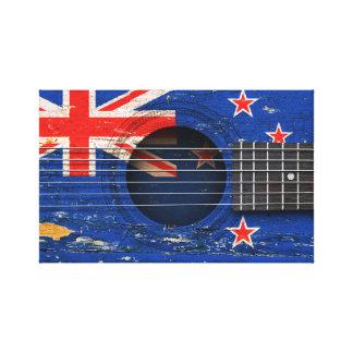 Bandera de Nueva Zelanda en la guitarra acústica Impresion De Lienzo