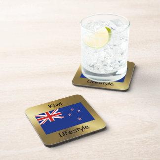 Bandera de Nueva Zelanda+Práctico de costa del tex Posavasos De Bebidas