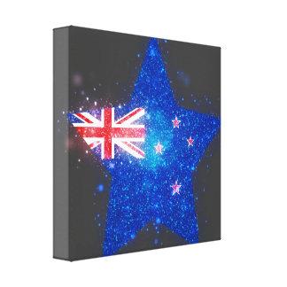 Bandera de Nueva Zelanda que brilla Impresión En Lienzo Estirada