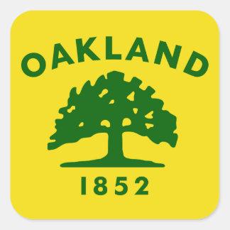 Bandera de Oakland, California Pegatina Cuadrada