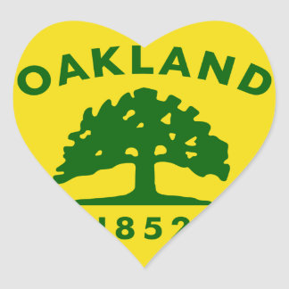 Bandera de Oakland, California Pegatina En Forma De Corazón