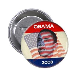 Bandera de Obama 2008 Pin Redondo De 2 Pulgadas