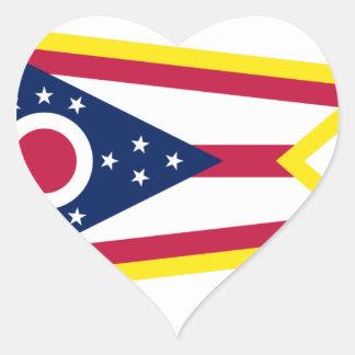 Bandera de Ohio del borde del oro Pegatina En Forma De Corazón