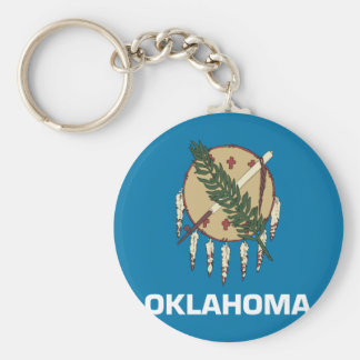 Bandera de Oklahoma Llavero Redondo Tipo Pin
