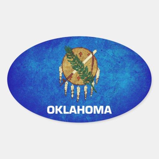 Bandera de Oklahoman; Calcomanía Oval Personalizadas