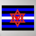 Bandera de orgullo de cuero judía poster