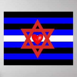 Bandera de orgullo de cuero judía póster