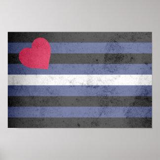 Bandera de orgullo de cuero póster
