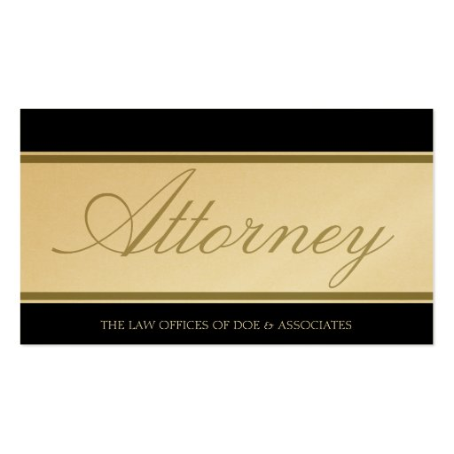 Bandera de oro de la escritura del abogado tarjetas de visita