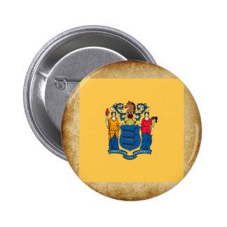 Bandera de oro de New Jersey Pin Redondo 5 Cm