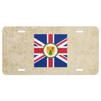 Bandera de oro de Turks and Caicos Islands Placa De Matrícula