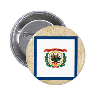 Bandera de oro de Virginia Occidental Pin Redondo 5 Cm