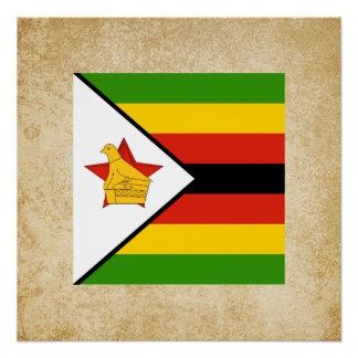 Bandera de oro de Zimbabwe Perfect Poster