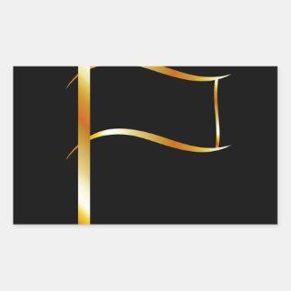 Bandera de oro pegatina rectangular