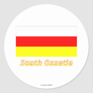 Bandera de Osetia del Sur con nombre Pegatina Redonda