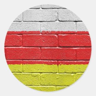 Bandera de Osetia del Sur Pegatina Redonda