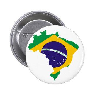 Bandera de país brasileña pin redondo de 2 pulgadas