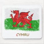 Bandera de País de Gales del Grunge Tapete De Raton