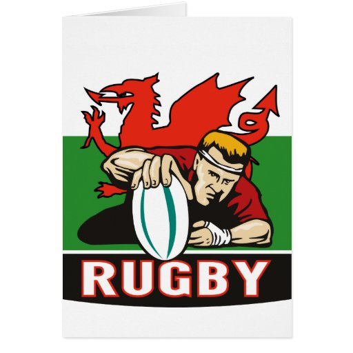 Bandera de País de Gales del intento del jugador d Tarjeta De Felicitación
