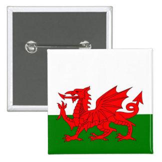 Bandera de País de Gales Galés Pin Cuadrada 5 Cm