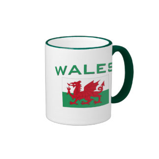 Bandera de País de Gales - inscripción verde Taza De Café