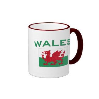 Bandera de País de Gales - inscripción verde Tazas