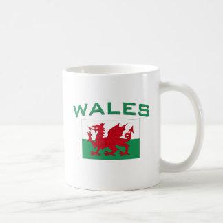 Bandera de País de Gales - inscripción verde Tazas De Café