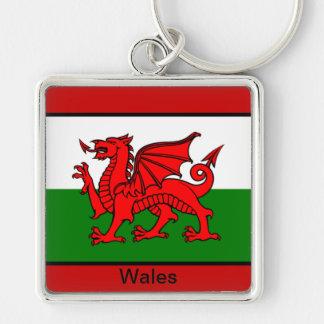 Bandera de País de Gales Llavero Cuadrado Plateado