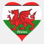Bandera de País de Gales Pegatina En Forma De Corazón