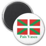 Bandera de País Vasco (Euskadi) con nombre Imán Redondo 5 Cm