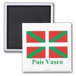 Bandera de País Vasco (Euskadi) con nombre Imán Cuadrado