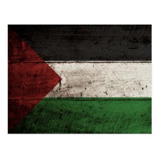 Bandera de Palestina en grano de madera viejo Tarjetas Postales