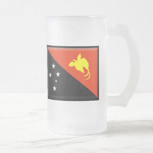 Bandera de Papúa Nueva Guinea Jarra De Cerveza Esmerilada