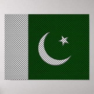 Bandera de Paquistán con efecto de la fibra de car Posters