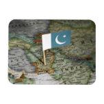 Bandera de Paquistán en mapa Iman Flexible