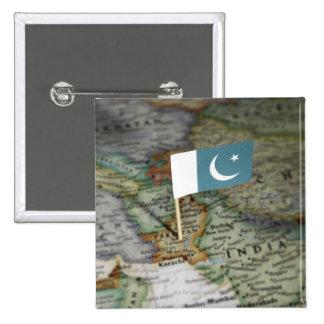Bandera de Paquistán en mapa Pin Cuadrado