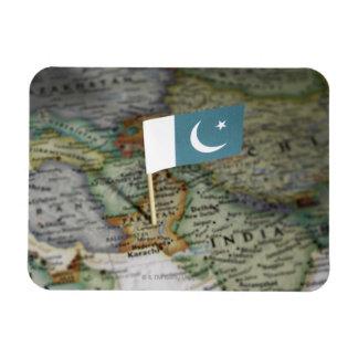 Bandera de Paquistán en mapa Rectangle Magnet